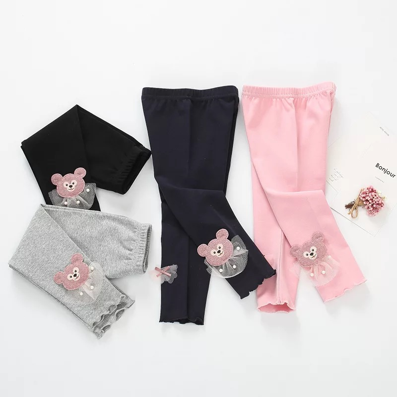 Spring Autumn Baby Pants Baby Girls Long Trousers Cartoon Cotton Bow Newborn Leggings Infant Toddler PP Pants For 0-3T