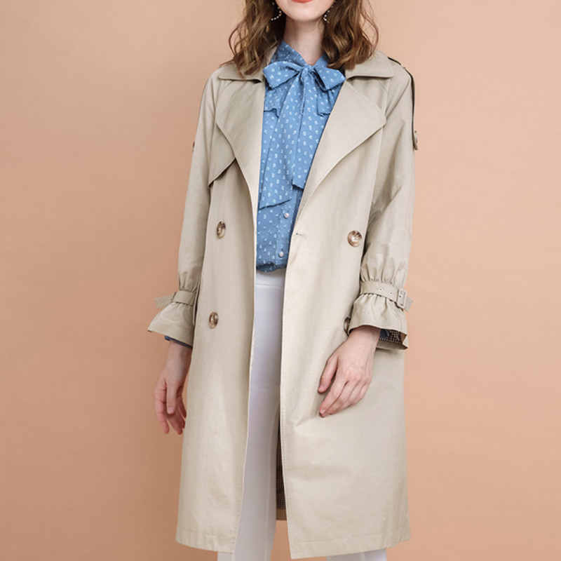 Vintage Korean   Trench   Female Coat Women Fashion Double Breasted Windbreaker Temperament Overcoat Long Coat Woman Clothes DD051