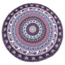 купить Round Print Bohemian Mandala Tapestry Wall Hanging Picnic Beach Towel Blanket Purple Elephant Mandala дешево