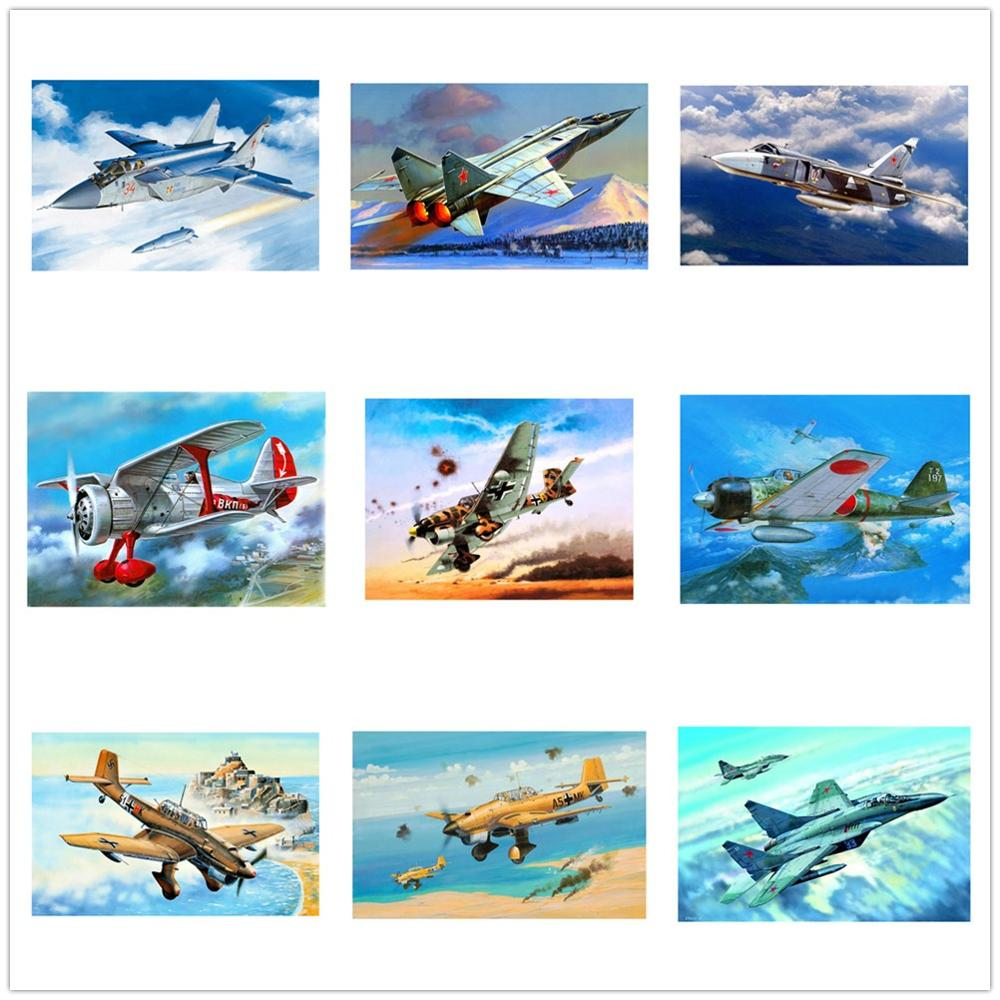 Dpsprue Diamond Painting Kit Cross stitch Full Square/Round Diamond Embroidery Airplane 5D DIY Mosaic Home Decoration Gift image
