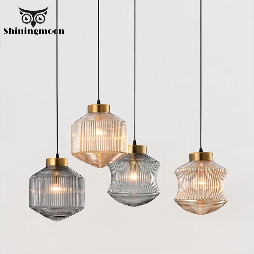 Nordic Luxury Gold Glass Pendant Lights Modern Designer LED Loft Restaurant Pendant Lamp Cafe Living Room Decor Light Fixtures