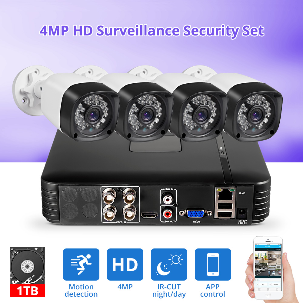 Fuers Update 4pcs 4MP 4CH AHD DVR CCTV Camera Security System Kit Outdoor Camera Video Surveillance System Night Vision P2P HDMI
