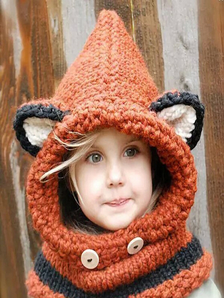Hat Kids Winter for 1--10-Year-Old Children Girls Party-Hat Scarf-Sets Beanie Fox-Ears