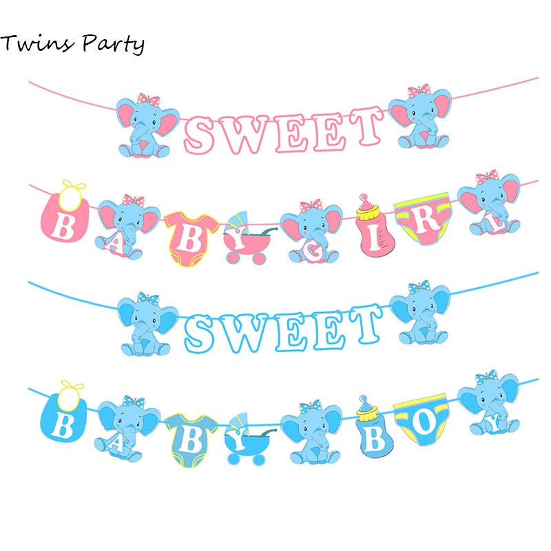 Twins Party Elephant Sweet Baby Banner Oh Shower Boy Girl Gender Reveal Decoration Blue Pink
