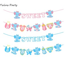 Twins Party Elephant Sweet Baby Banner Oh Baby Shower Boy Girl Gender Reveal Party Decoration Blue Pink Baby Shower Banner