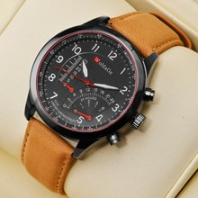 Womage Men Watches Sports Leather Band Analog Quartz Wristwatch Military relogio masculino reloj hombre