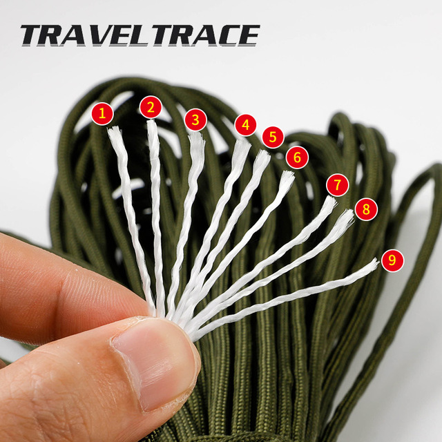 Paracord 550 Military Spec Type 9 Stand 2mm Lanyard Cores Rope Hiking Survival 4mm Parachute Cord Outdoor Clothesline Rescue 2