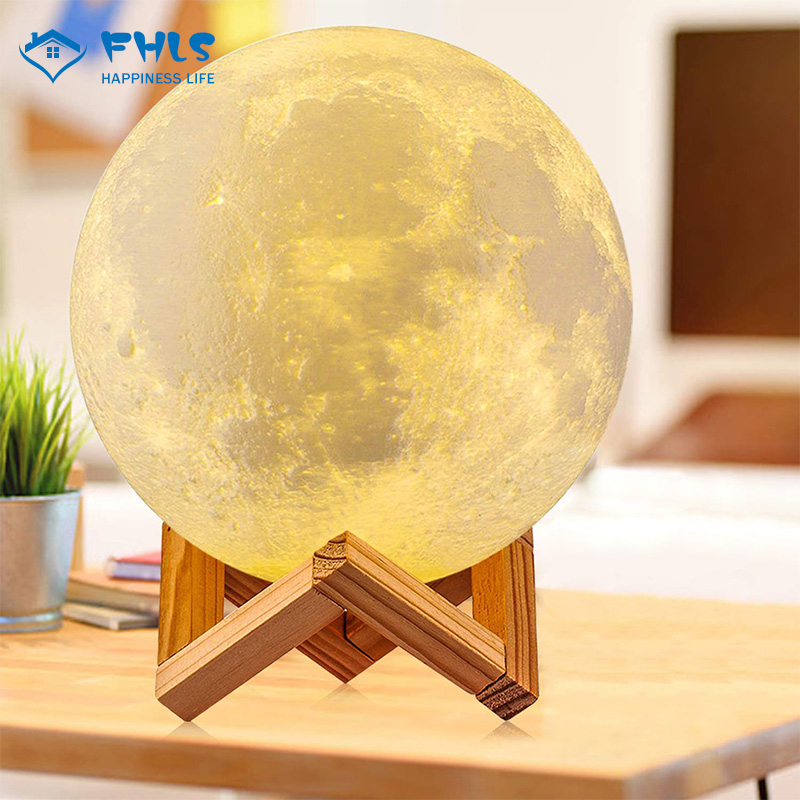 2 Colors 3D Print LED Night Light Rechargeable Moon Lamp Bedroom Decoration Touch Control Creative Touch Switch Child Moonlight