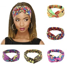 New Style African Printed Stretch Cotton Headband, Women's Sports Elastic Turban Scarf, Ladies Bandage Headgear Hair Accessories
