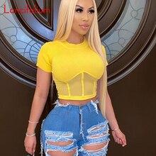 Sexy Sheer Crop Top Women Summer Yellow Knit Ribbed T Shirt Ladies