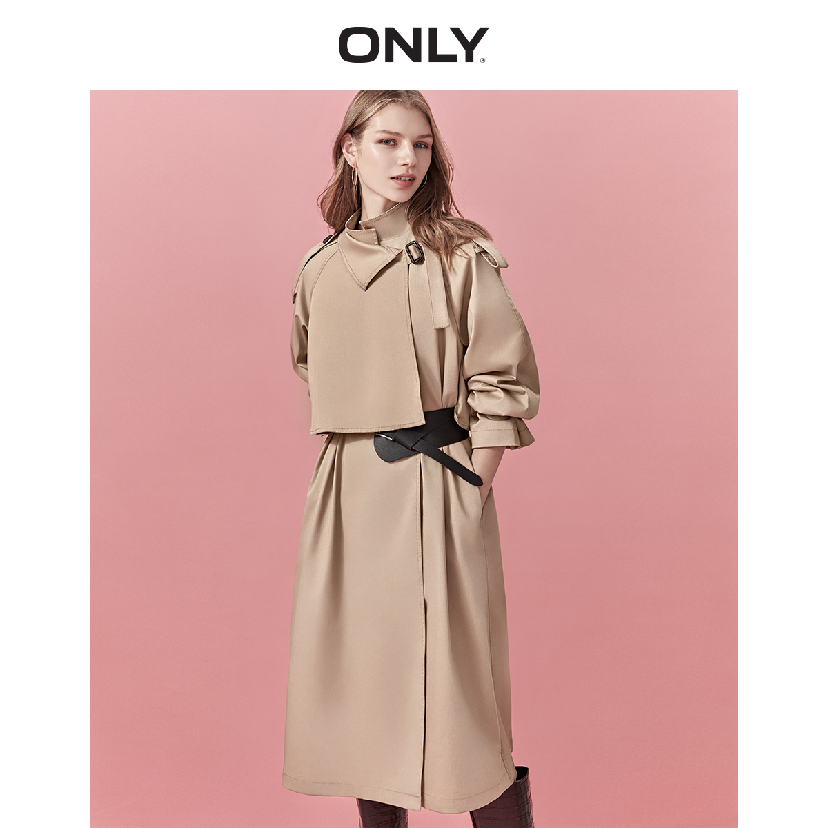 ONLY Autumn Winter Long Asymmetrical   Trench   Coat | 119336522