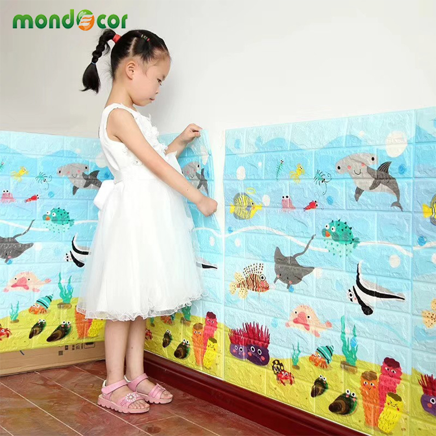 New Nursery Decor Cartoon PE Foam Wall Stickers Children Anti-collision Wall Panels Living Room Self Adhesive 3d Brick Wallpaper