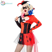 Halloween clown female cosplay costume circus adult red black stage role playing funny clown movie anime printio funny clown