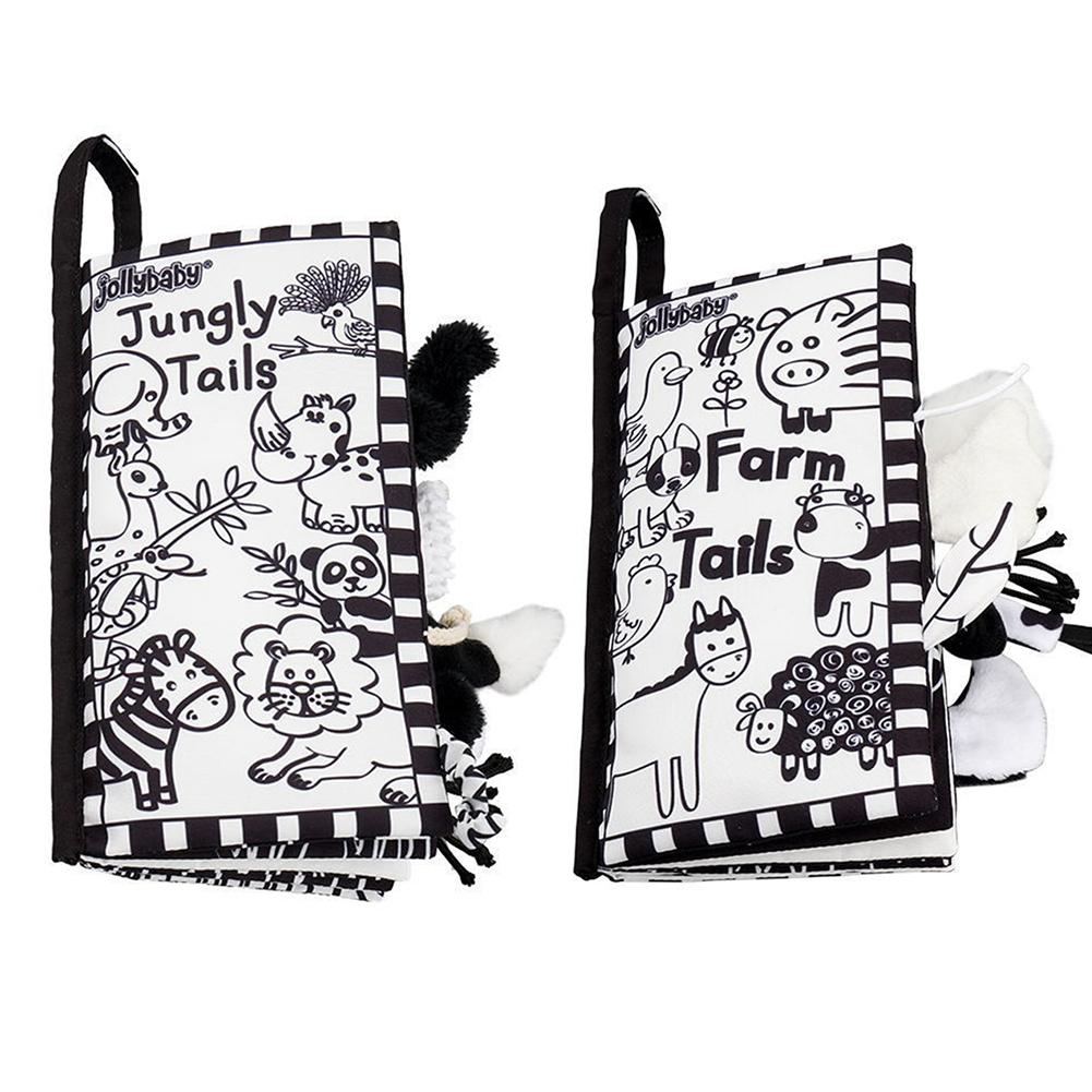 Black White Animal Tail Puzzle Baby 3D Cloth Book Visual Developmental Toy Gift