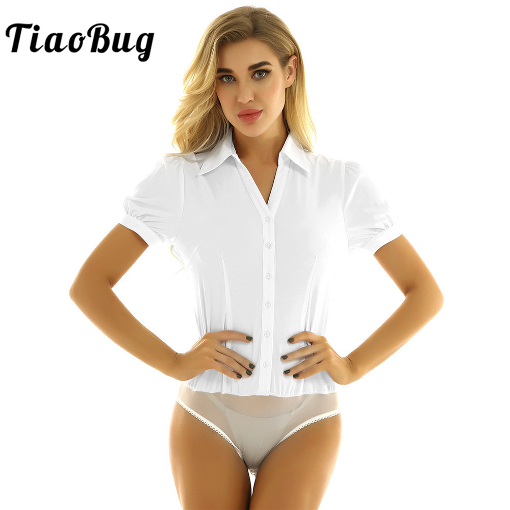 TiaoBug Summer Women White/Black One-Piece Turn-down Collar Short Sleeve Button Down Casual Career Bodysuit Shirt Blouse Romper