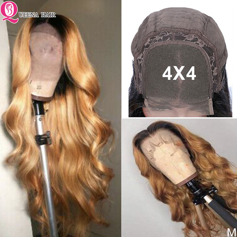 4x4 Ombre Body Wave Closure Wigs For Black Women 4x4 Lace Closure Wig Remy 1B/27 1B/27 1B/Burgundy Brazilian Human Hair Wig 180%