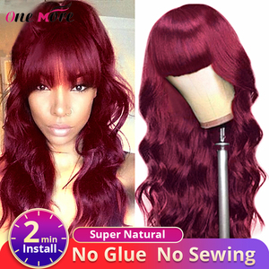 Body Wave Wig With Bangs 99J Burgundy Colored Hair Wigs Full Machine Made Wig Body Wave Wigs Brazilian Glueless Wig For Wo