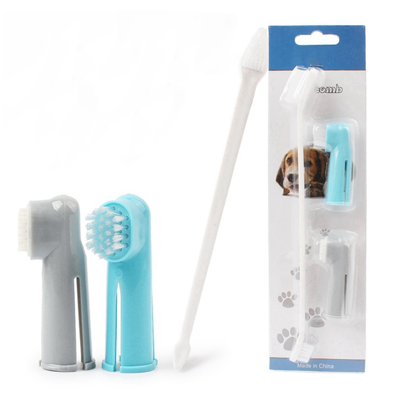Pet Dog Cat Toothbrush Set Dog Finger Toothbrush Soft double-ended Toothbrush Pet Teddy Dog Brush Finger Back Up Brush Care Set image