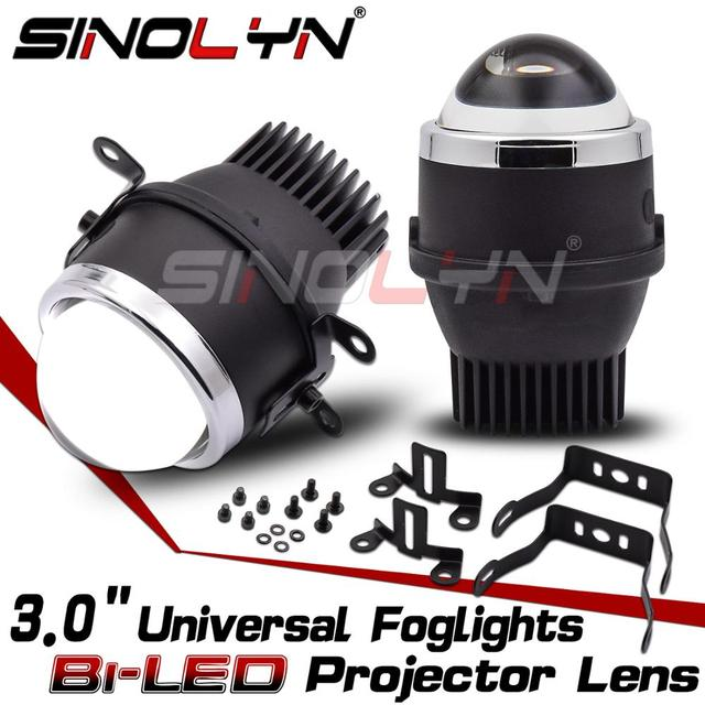 Sinolyn Bi LED Projector Fog Lenses 3.0 SpotLights Waterproof PTF Light Car UniversalFog Lenses KitsAuto Styling  Accessories