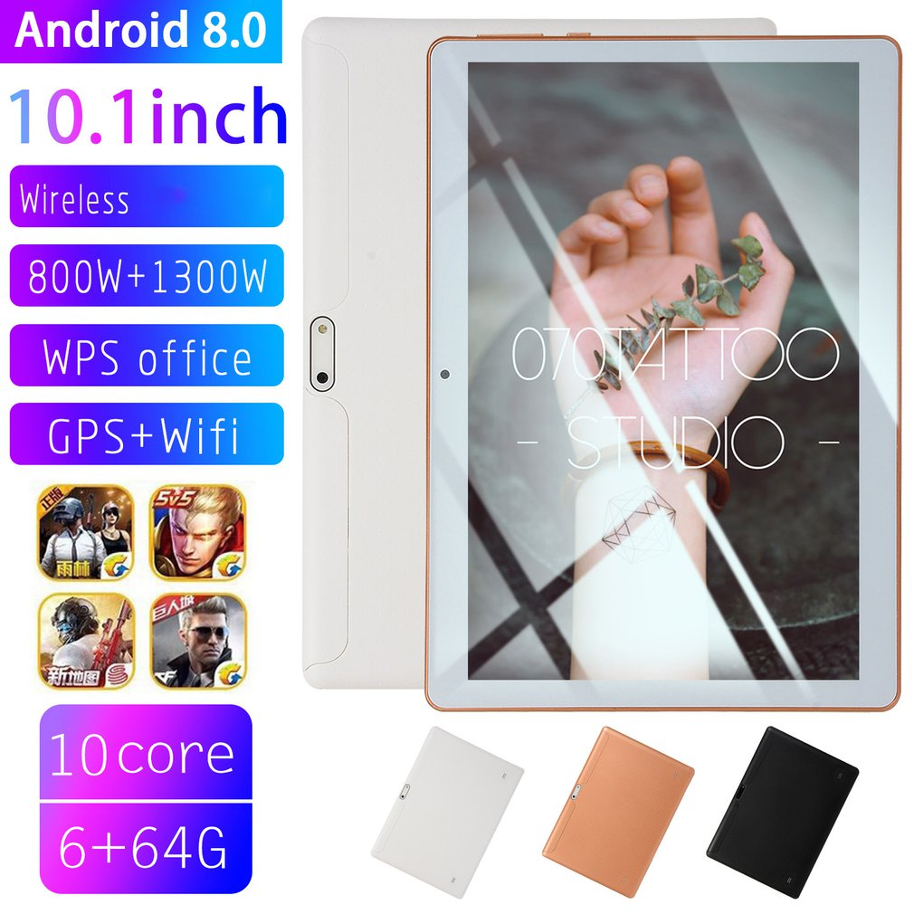 10.1 Inch IPS Screen Android 8.0 Ten core Tablet PC 6GB+64GB Dual SIM Card Slots 3G Phone Call With GPS FM|Tablet LCDs & Panels| |  - title=
