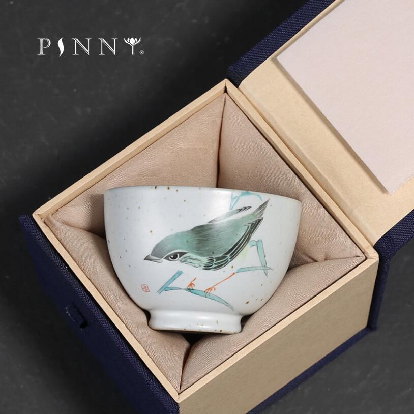 PINNY 150ML thé à oiseaux peint à la main en céramique rétro traditionnel chinois thé tasse Kung Fu boisson bol à thé