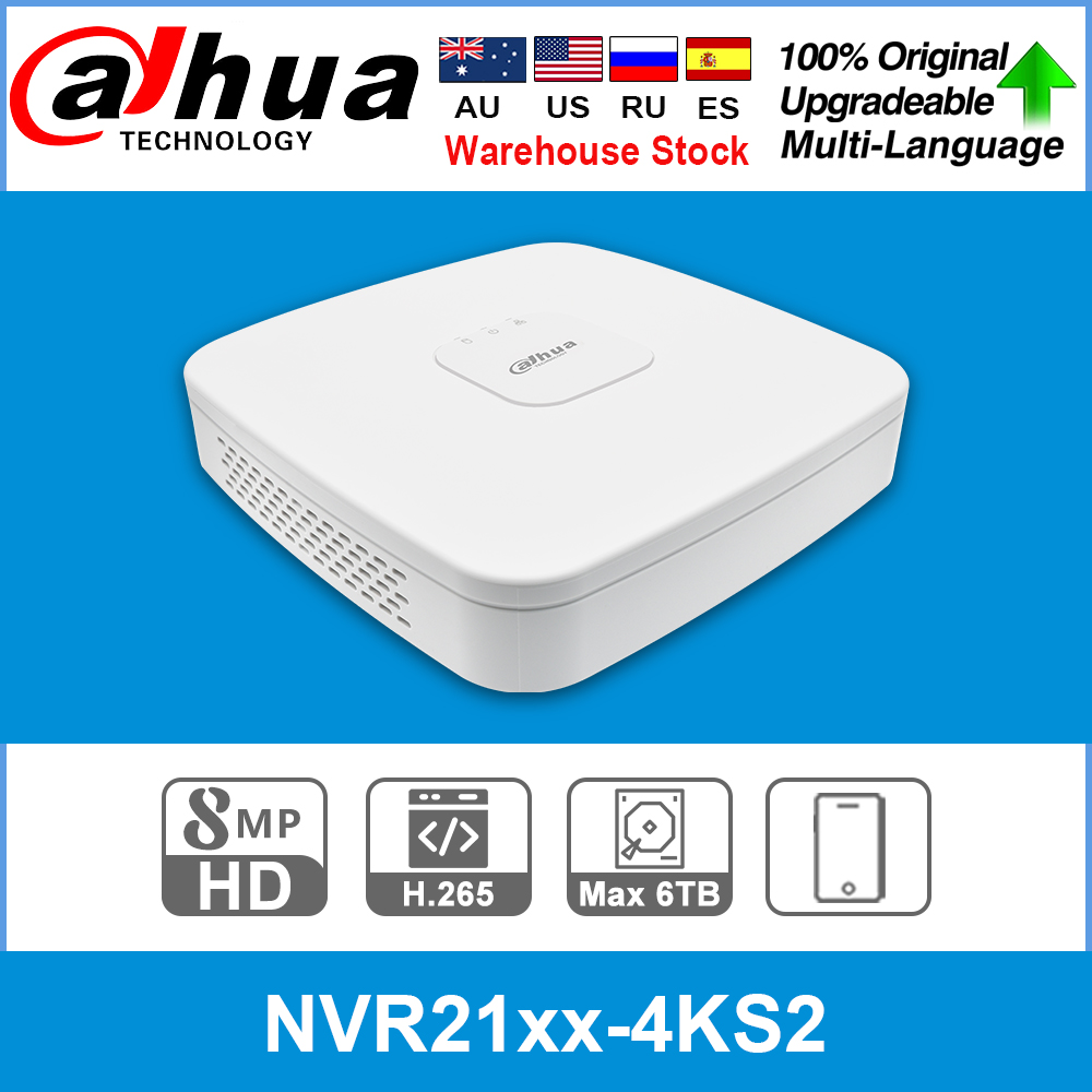 Dahua Original 4K NVR NVR2104-4KS2 NVR2108-4KS2 NVR2116-4KS2 4/8/16CH 1U Lite Network Video Recorder H265 For IP Camera System image