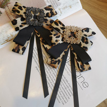 Korean style Women BowTies College Bank Hotel Staff Bow Tie fashion Leopard Print Butterfly brooch with ribbon shirt accessories(China)