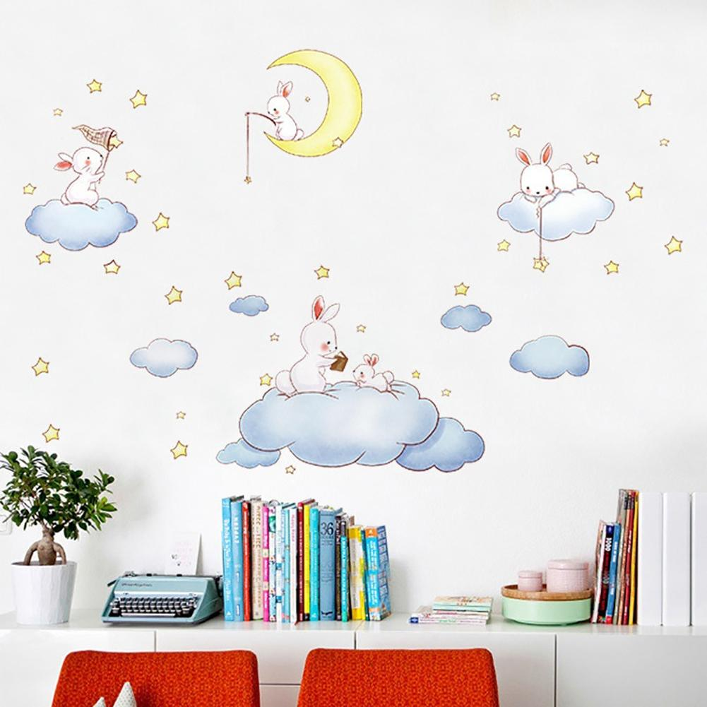 Europen Cartoon Rabbit Cloud Star Pattern PVC Self Adhesive Plane Sticker Home Kids Room Bedroom Decor Wall Furniture Stickers