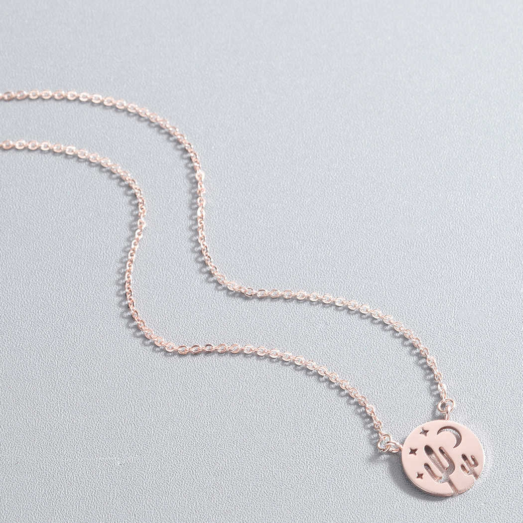 Cxwind Stainless Steel Cactus Pendant Necklace Women Boho Jewelry Cute Charm Star Moon Chain Necklaces Collier Femme Bijoux