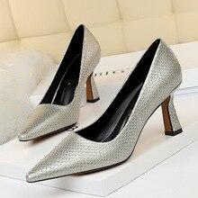 Zapatos de tacón alto de cuero con punta en pico para mujer, sandalias poco profundas, sexy, sin cordones, talla grande, alta calidad