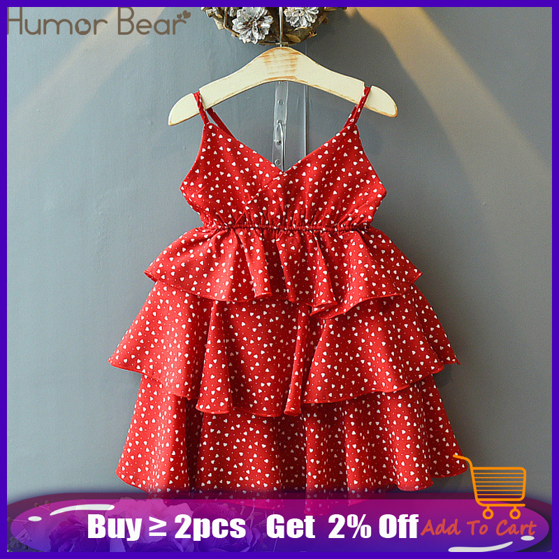 Humor Bear Girl Dresses Brand New Summer Kids Clothes Girls Chiffon Dots Dress Fashion Children Clothing Princess Sling Dress
