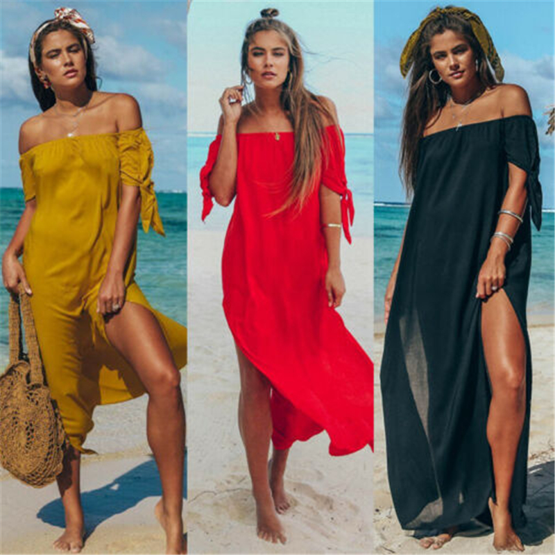 Summer Women Sexy Swimsuit Lace OffShoulder Bikini Cover Up Swimwear Beach Dress Pareo Beach Tunic Cover Ups Capes