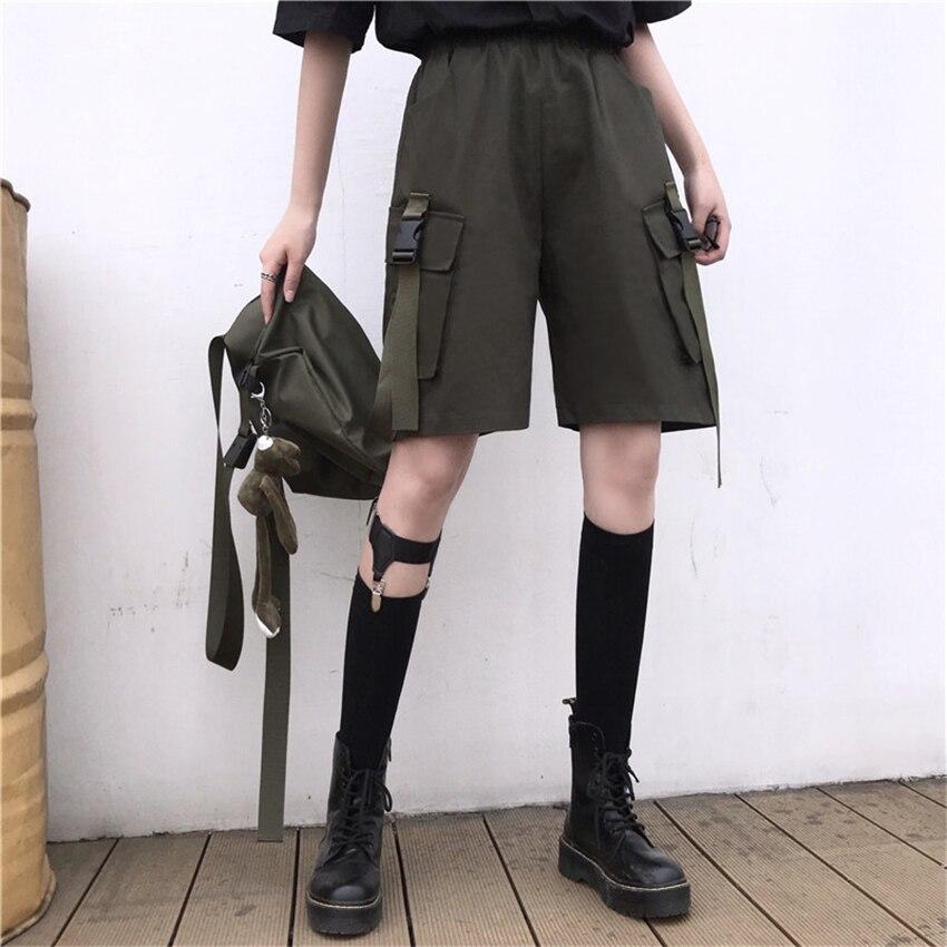 Streetwear Women Shorts Cargo Harajuku Pants Couple Dark Gothic Big Pockets Casual High Waist Capris Unisex Summer Outfits