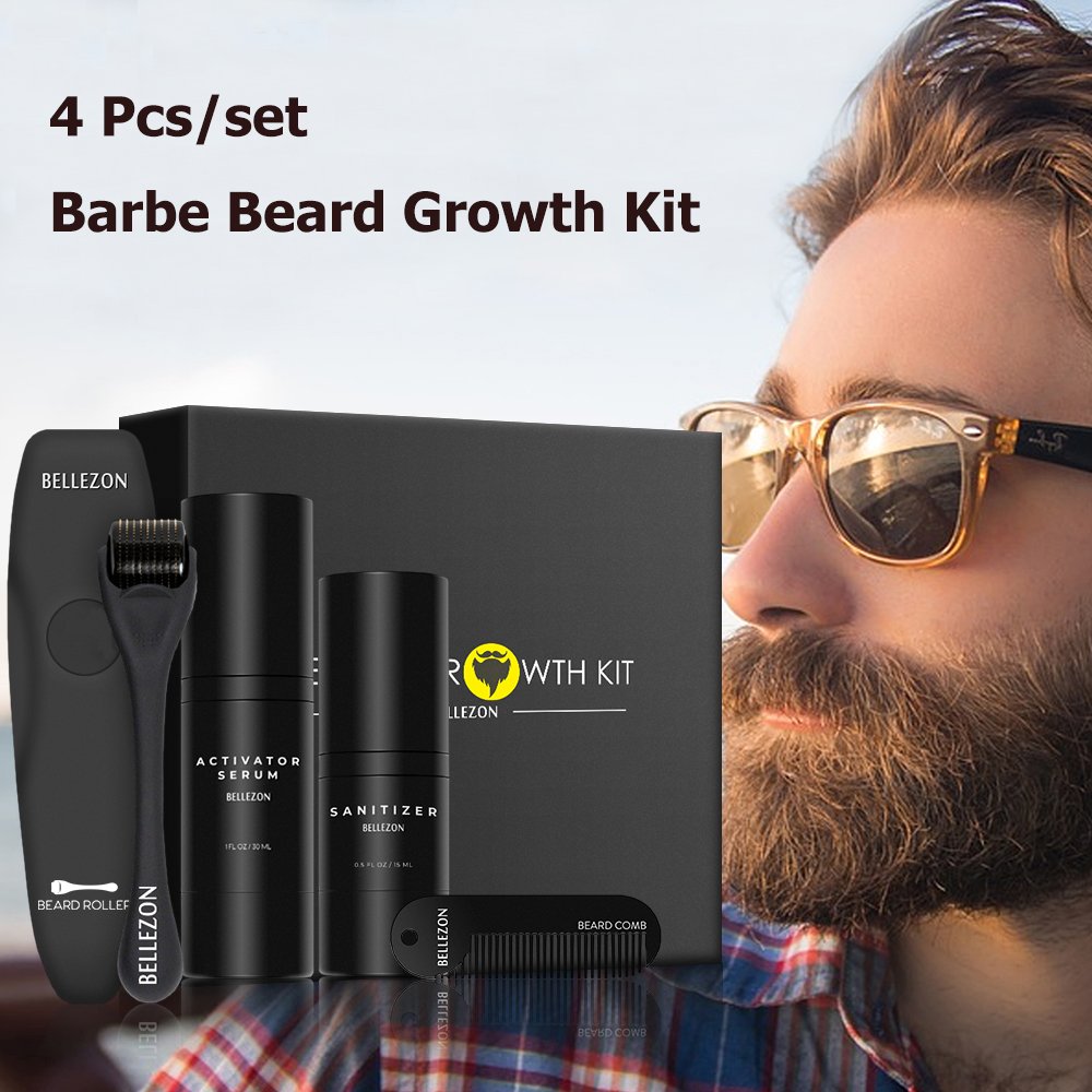 4 Pcs/set Barbe Beard Growth Kit Hair Growth Enhancer Beard Care with Comb