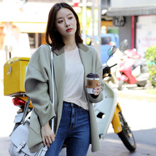 2019 New Coat Fashion Color Short Woolen Tweed Turn-down Collar Pockets Long Women