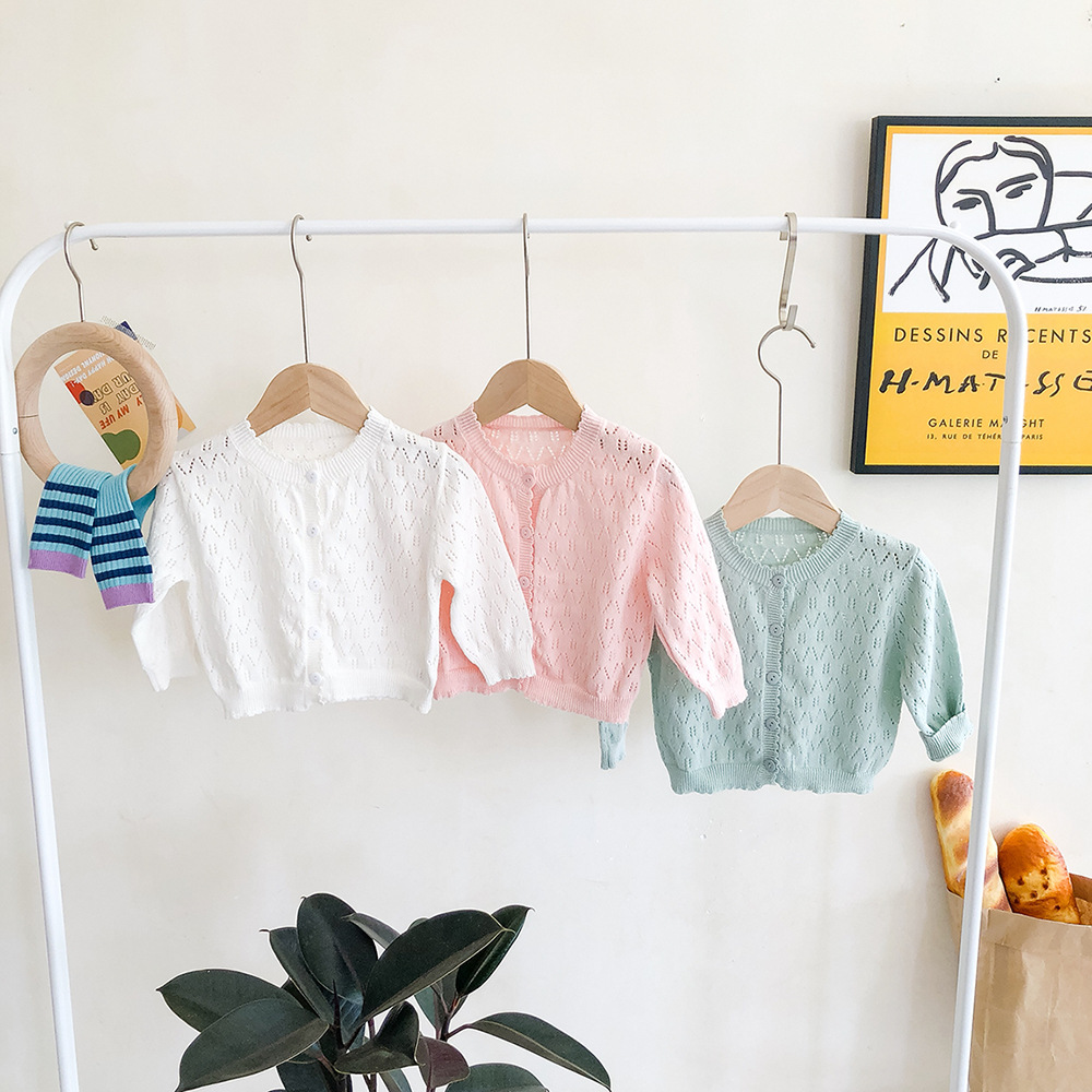 MILANCEL  Baby Sweater Air Conditioning Sweater 3 Colors  Baby Knit Cardigans Single Breast Baby Sweaters