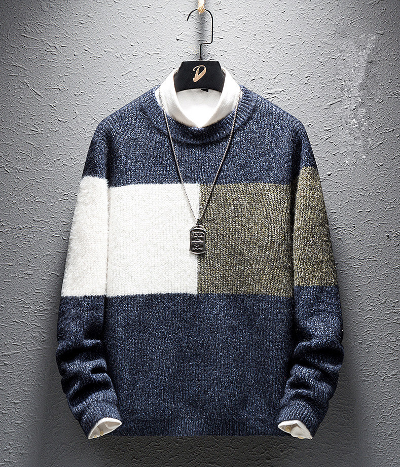 Men's Sweater 2019 New Autumn Large Size Long-sleeved O-neck Slim Casual Fashion Contrast