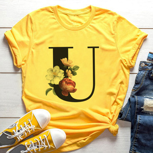 2020 New Fashion 26 English Alphabet Print Yellow Tshirt Summer Harajuku Casual Tops T Shirt Women Couples Lovers Female T-Shirt