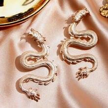 Flatfoosie – boucles d'oreilles Vintage Dragon Roar pour femmes, bijoux couleur or, pendentif géométrique de personnalité, cadeaux