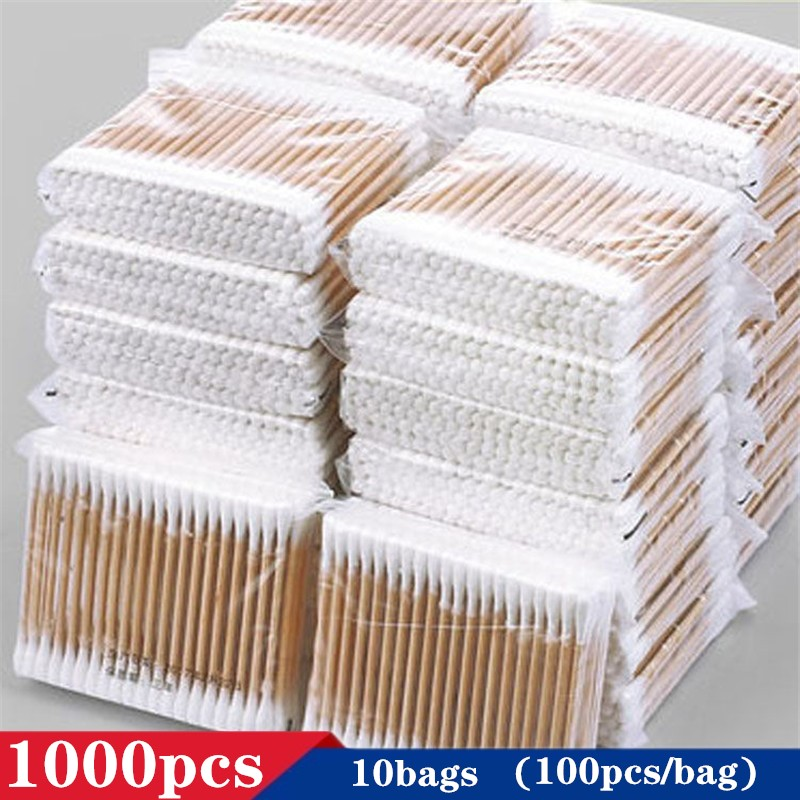 1000pcs In Stock Double Head Cotton Swab Bamboo Cotton Buds Medical Ear Cleaning Wood Sticks Cotton Swabs Drop Shipping