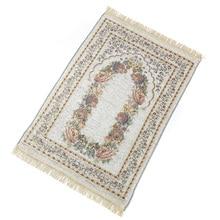 Alfombra de oración antideslizante decoración Floral mezcla de algodón regalos dormitorio plegable portátil casa arrodillado alfombra exquisita ligera suave