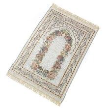 Anti deslizamento tapete de oração floral decoração mistura algodão presentes quarto dobrável portátil casa ajoelhado requintado leve macio
