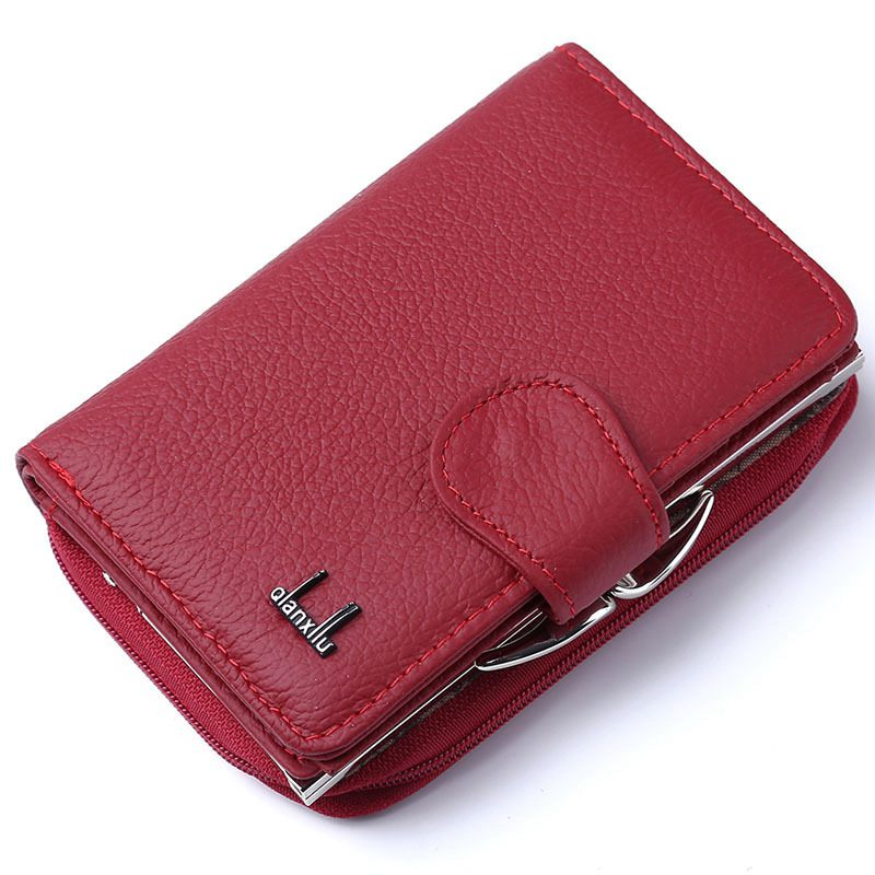 Qian Xi Lu women's wallets Cortex zipper and hasp purses (Red)12.5*8.5*4cm