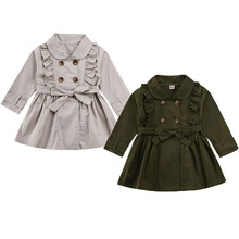 Toddlers Girl Baby Coat Trench Outfits 2-7Y Button Bandage Ruffle Casual Jacket