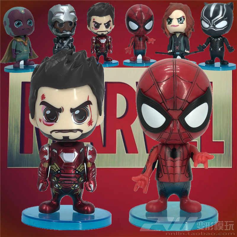 Versão Marvel Q balançando a cabeça bonecas escritório mão homem de ferro homem-Aranha viúva negra pantera negra fantasma máquina de guerra