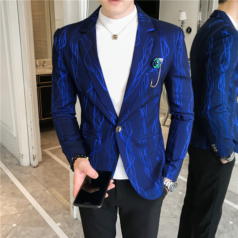 Luxury Stage Clothers MEN Blazer Suit Jacket Korean Casual Slim Fit Mens Blazers 2020 Spring Wedding Coat Blazer Masculino