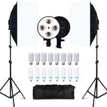 Фотостудия 8 светодиодный 20 Вт софтбокс комплект фотографический светильник ing комплект камера и аксессуары для фото 2 светильник стойка 2 софтбокс для фото камеры