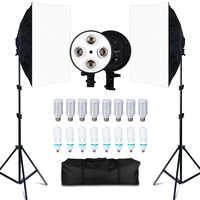 Набор софтбоксов для фотостудии 8 светодиодов 20 Вт комплект для фотографического освещения аксессуары для камеры и Фото 2 осветительных сто...
