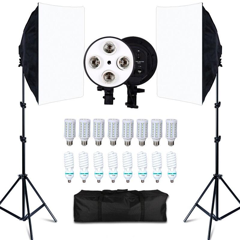 Estúdio de fotos 8 led 20 w kit softbox iluminação fotográfica câmera & acessórios da foto 2 suporte de luz 2 softbox para câmera foto