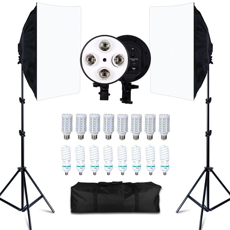 Софтбокс с 8 LED лампами для фотостудии, 20 Вт, комплект освещения для фотосъемки, аксессуары для камеры и фотографии, 2 штатива для освещения, 2 ...